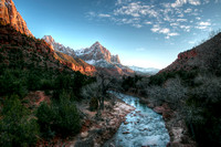 Zion evening on the bridge