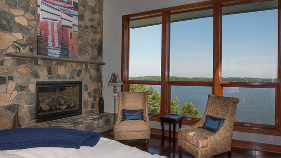 The master bedroom: fireplace and a view!